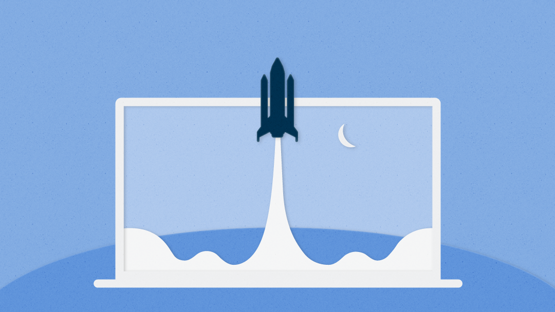Illustration of a rocket ship blasting off out of a laptop computer